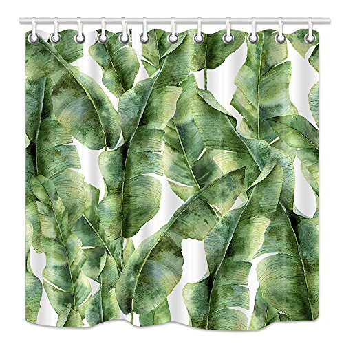 wer Curtain, Tropic Banana Plant leaf Watercolor Exotic Greenery Branch, Upgrodes Mildew Resistant Fabric Bathroom Decorations, Bath Curtains Hooks included, 69X70 Inches ()