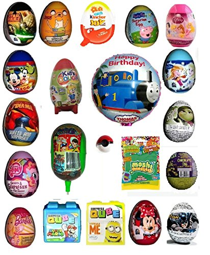 Surprise Eggs and Toys x 20 all different including Kinder Joy, Frozen, Spiderman, Scooby Doo, Minnie Mouse ,Peppa Pig, Disney Princesses, 1 balloon of Thomas or Fairies or Spiderman , mini Pokemon Go Pokeball , Moshi Monster figures bag, Play dough egg and many more for boys girls easter birthday party