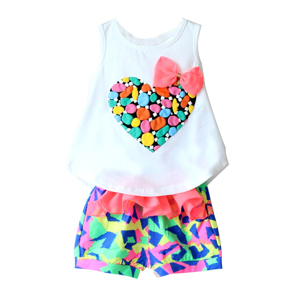 2pcs Kids Baby Girls Summer Clothes Love Heart Vest Top + Colorful Shorts Outfit