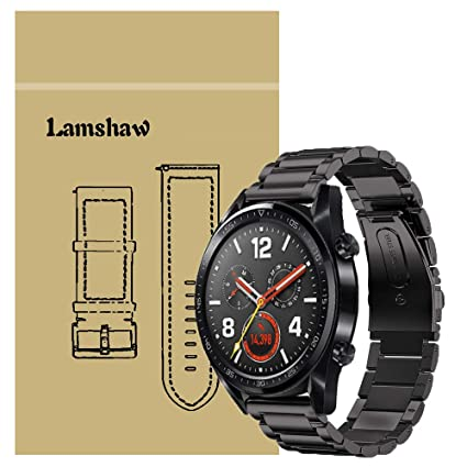 for Huawei Watch GT Band, Lamshaw Stainless Steel Metal Replacement Straps for Huawei Watch GT Smartwatch (Black)
