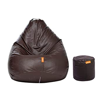 Terrific Orka Classic Filled With Beans Xxl Bean Bag With Footstool Brown Evergreenethics Interior Chair Design Evergreenethicsorg