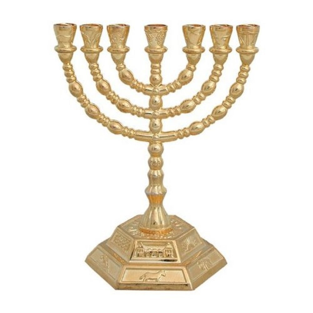8 7 Branch Hexagonal Base 12 Tribes of Israel Menorah by Bethlehem Gifts TM (Gold)