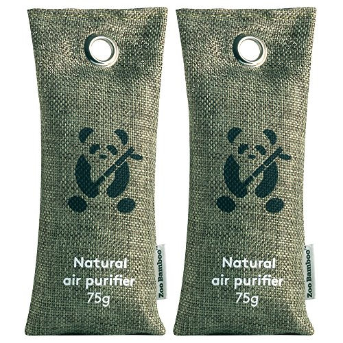 Bamboo (2 x 75g) | Bamboo Charcoal Shoe Deodorizer Car Refreshener Home Odor Eliminator Mold Remover Moisture Eliminator and Dehumidifier for Allergies Smoke Smell and Pet Odor (Cedar Pine Armoire)