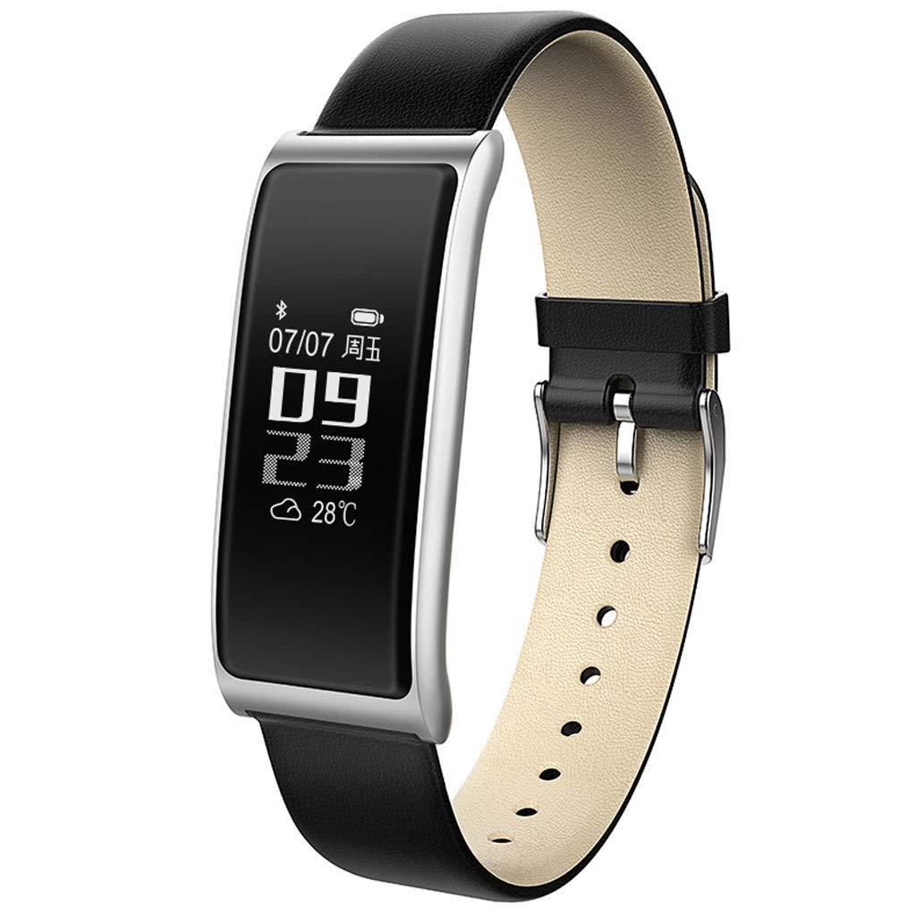 YangMi Sports Bracelet- Student Smart Waterproof Sports Bracelet Trend Multi-Function Step Monitoring Heart Rate Sleep Bracelet Men and Women (Color : Black Silver)