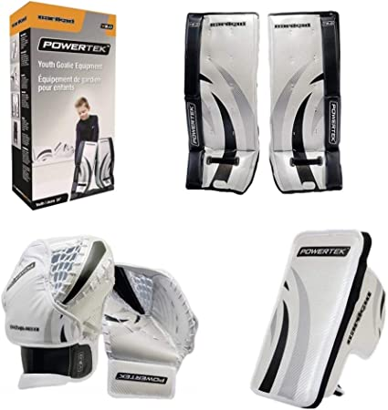 Amazon Com Powertek Barikad V2 0 Junior Ice Hockey Goalie Pad Set 26 Leg Pads Glove Blocker Sports Outdoors