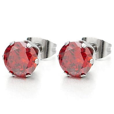 061fec680391 1 Par 3MM Rojo Circonita