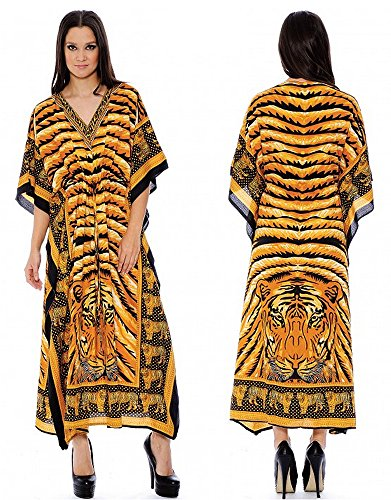 Enimay Women's Fashion Summer Kaftan Dress Kimono Style Pull Over Top 390 Tiger ()