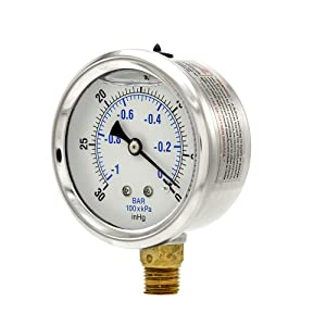 "PIC Gauge PRO-201L-254A 30""-0 hg Vacuum PSI Pressure Gauge, 2 1/2"" Dial, 1/4"" Male NPT Connection, Bottom Mount, Dual Scale, Glycerin Filled, Stainless Steel Case/Bezel, Brass Internals & Plastic Lens"