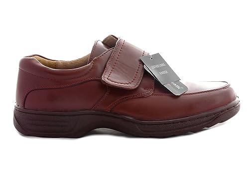 Zapatos de Hombres, Forrado de Cuero, Ligero, Cómodos, Con Cordones, Cin Cordones o Velcro (EU 40.5 UK 7, Marrón Velcro)