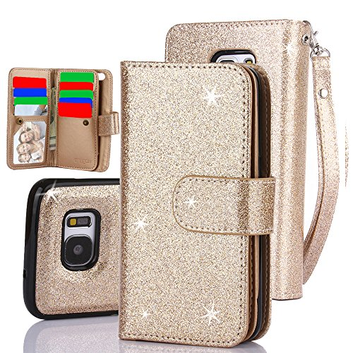 Galaxy S7 Case, TabPow 10 Card Slot - [ID Slot] Wallet Folio PU Leather Case Cover With Detachable Magnetic Hard Case For Samsung Galaxy S7 Case, - Glitter Gold