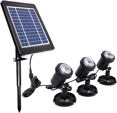 Luces solares para estanques Proyector para exteriores Focos subacuáticos Lámpara sumergible LE...