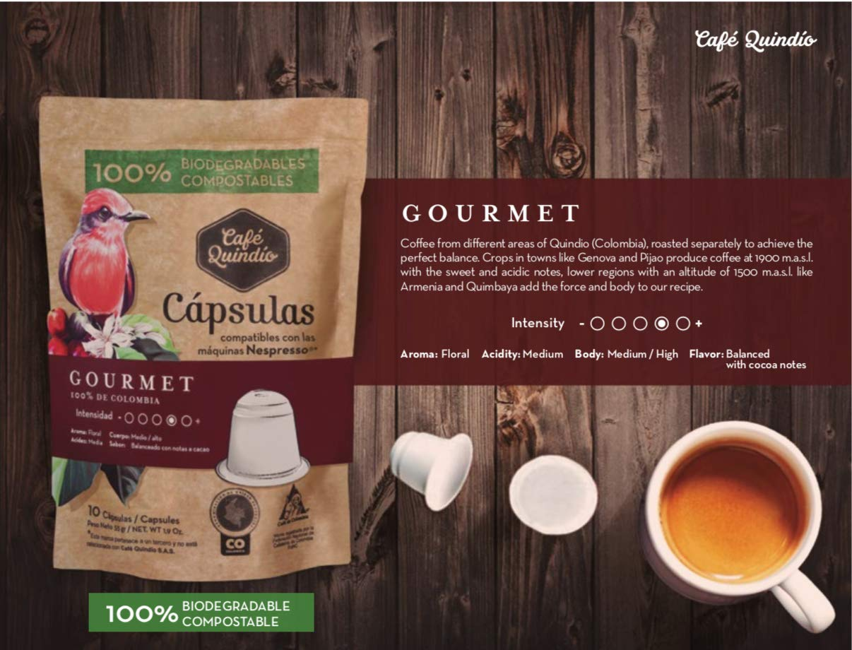 Biodegradable Capsules Line Compatible with Nespresso machines X 25 Capsules Gourmet Coffee 137.5 g (Gourmet): Amazon.com: Grocery & Gourmet Food