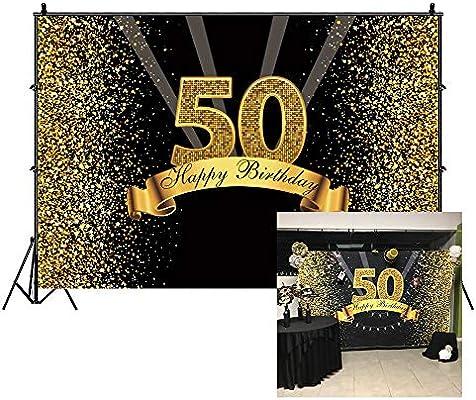Cassisy 3x2m Vinilo Cumpleaños Telon de Fondo 50 telón de Fondo de cumpleaños Lentejuelas Brillantes Rayos Oro Negro Fondos para Fotografia Party ...