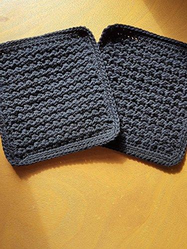 Handmade crochet washcloths, dishcloths, rags, wipes or pot holders 100% cotton set of 2