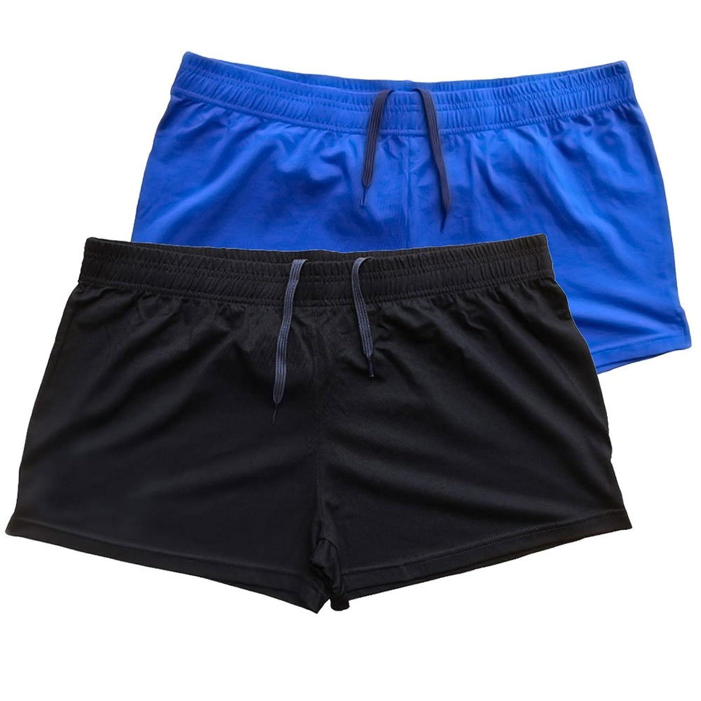 Slim Aive メンズベースレイヤーボトムショートドローストリングスポーツ … B0719Q4ZZ6  3分丈-PLN ブラック+ブルー-薄い ポケットなし L:ウエスト87-95 cm