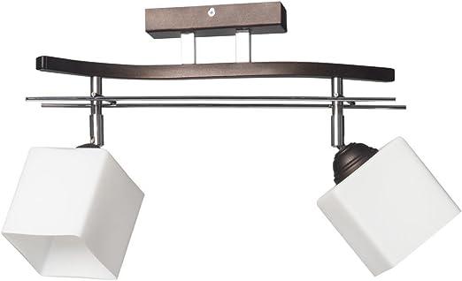 Bauhaus – Lámpara de techo (b40 cm, diseño Hogar, en marrón, color blanco, pantalla rectangular, adornos cromados, 2 focos) Cocina lámpara interior Proyección Piso lámpara de techo: Amazon.es: Iluminación