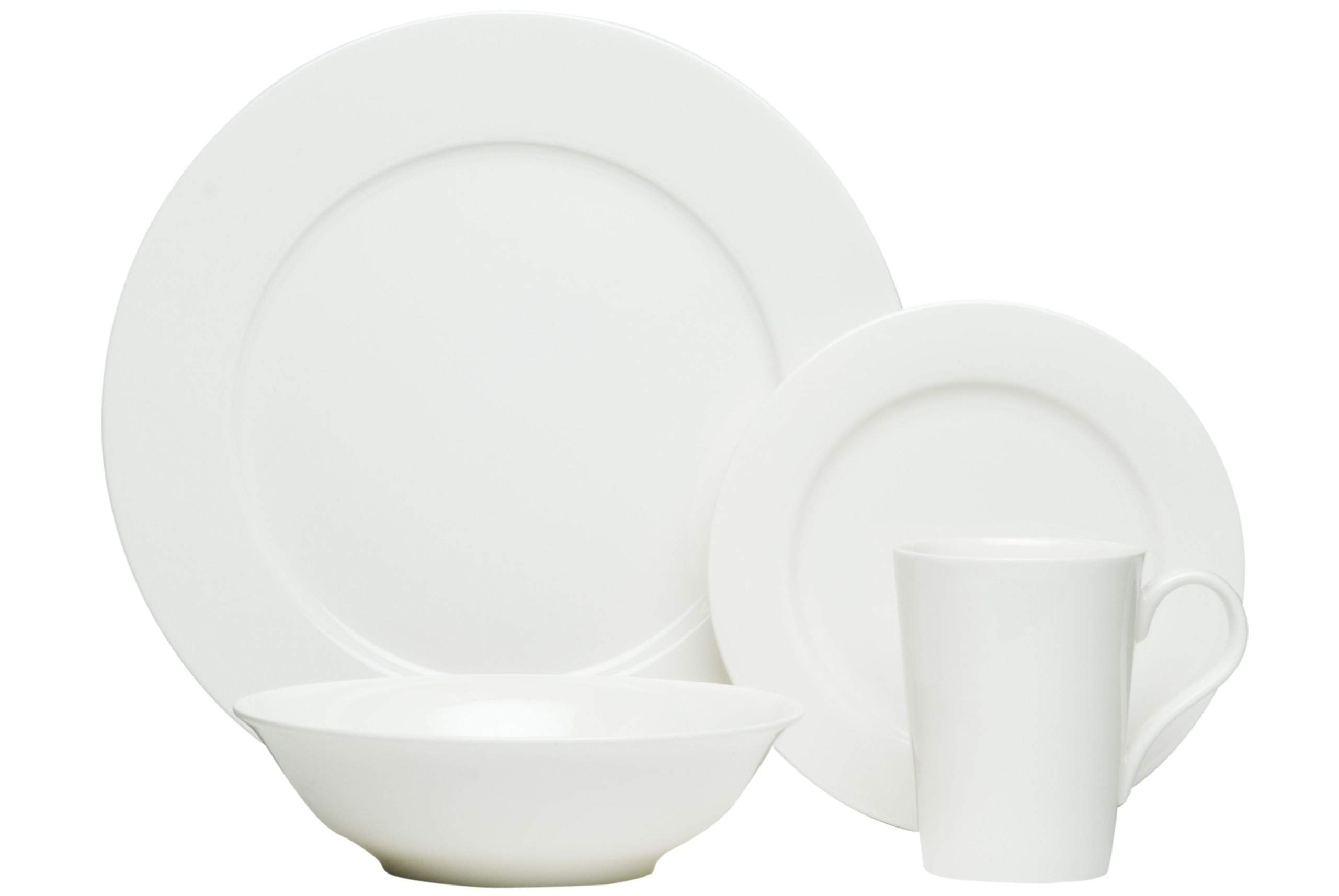 Red Vanilla Pure Vanilla 16-Piece Bone China Set - Dinner service for four includes: 4 - rimmed dinner plates, 10-3/4-inch, 4 - rimmed side plates 7-inch, 4 - cereal bowls 7-inch, 4 - 10-ounce conical mugs Bone china Pure vanilla - kitchen-tabletop, kitchen-dining-room, dinnerware-sets - 61oBNQN6BRL -