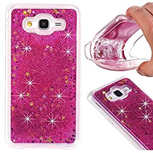 Galaxy J7 (2015) Case, A-slim Galaxy J7 Liquid Glitter Case, Beauty Luxury Shiny Bling Flowing Liquid Floating Sparkle Heart Glitter Soft Case for Samsung Galaxy J7 / J700 - Rose
