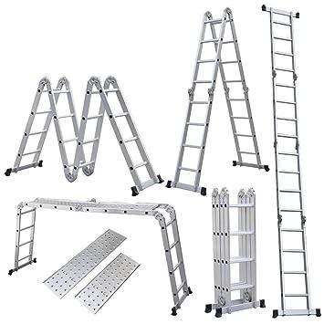Teleskopleiter 4x4 T/ÜV GS Multifunktionsleiter bis 4 m L/änge