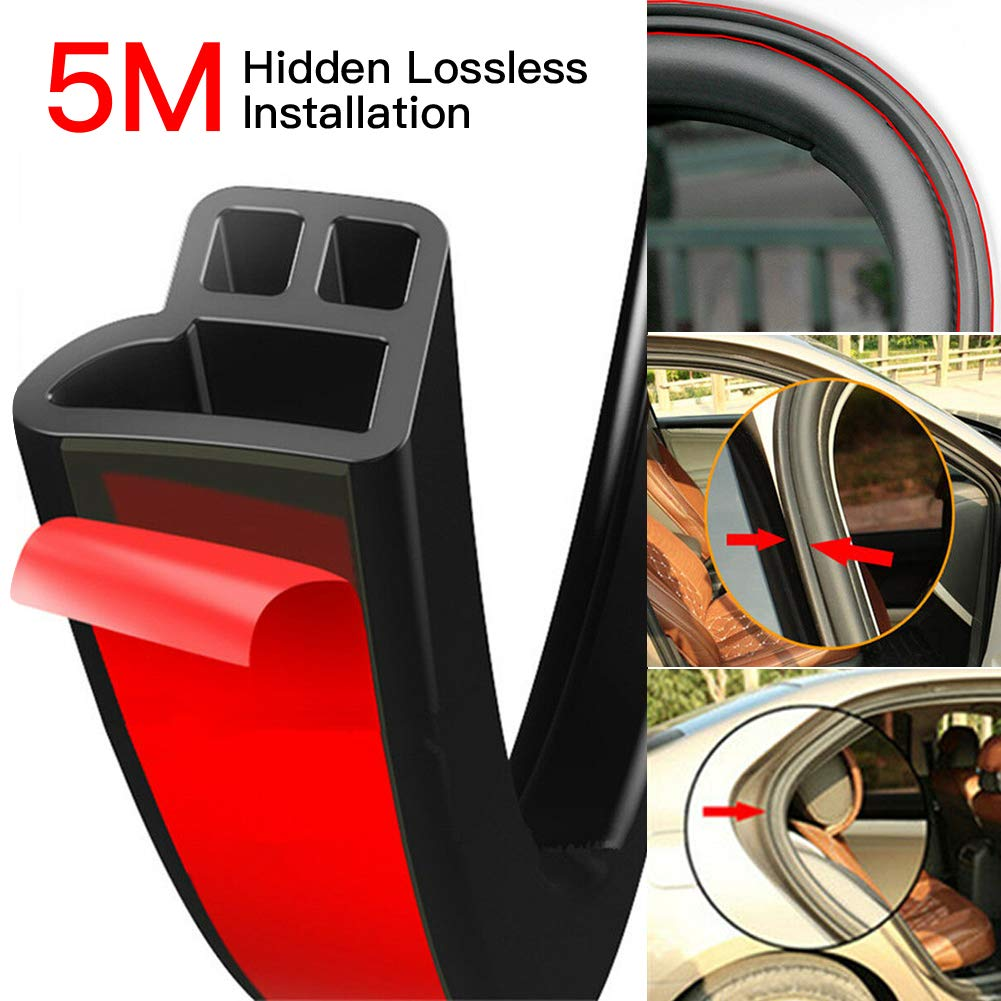 Delleu 5M L Universal Car Weather Stripping Self Adhesive Automotive Door Rubber Weather Draft Seal Strip for Car Window Door Engine Cover Noise Insulation