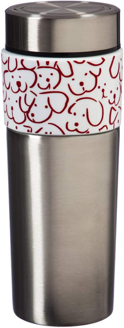 Cypress Home 17 OZ Double Wall Stainless Steel and Ceramic Cup, Dog Gone 3 x 3 x 8 Inches