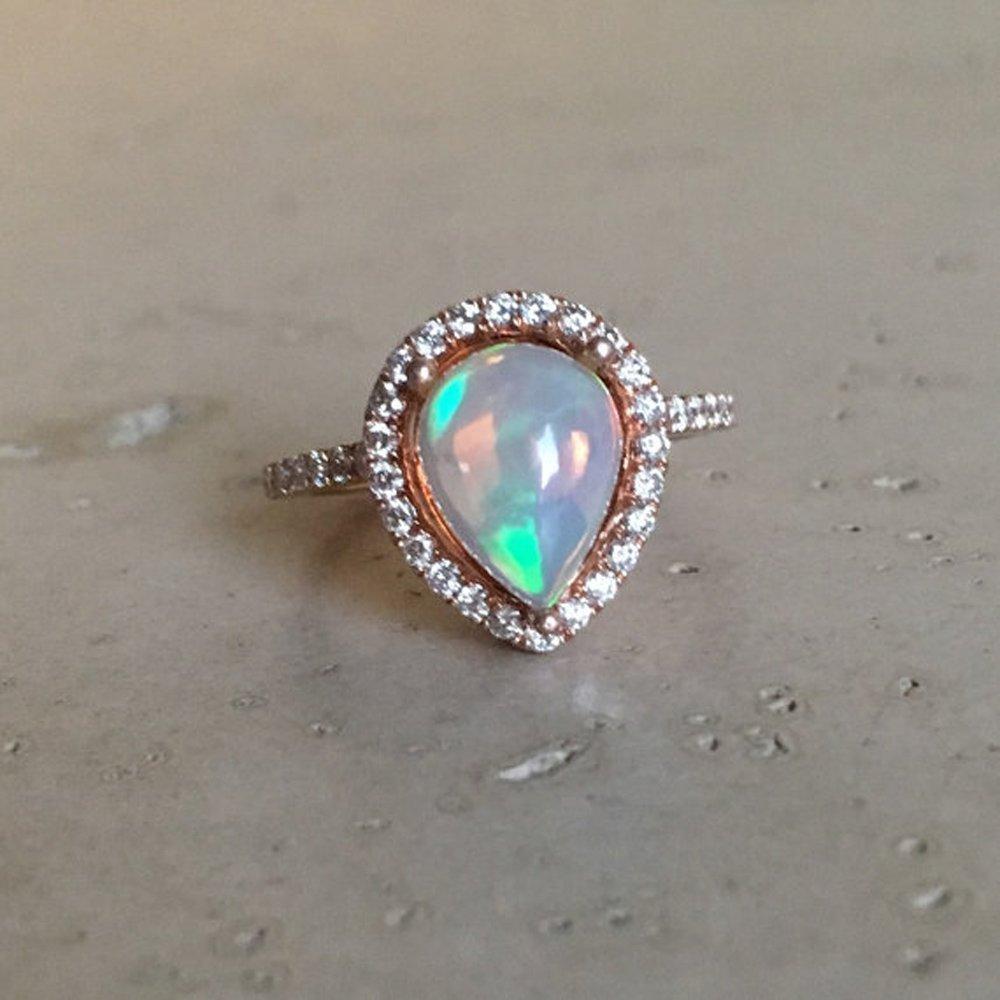Amazon Com Halo Opal Engagement Ring Rose Gold Opal Engagement Ring Pear Shape Fire Opal Engagement Ring Unique Engagement Ring Opal Promise Ring Handmade