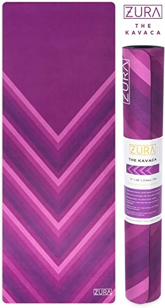 ZURA The Eco-Friendly Combo Yoga Mat + Towel, No-Slip Grip with Microfiber Towel Top - Extra Long - 3.5 mm Thick - 100% Natural and Non-Toxic, Machine ...