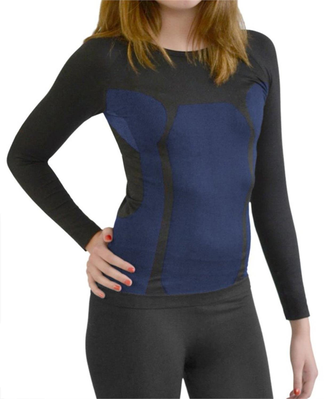Damen Seamless Funktionsunterwäsche ohne Nähte mit Elasthan Farbe Hemd Schwarz/Blau Größe Small / Medium