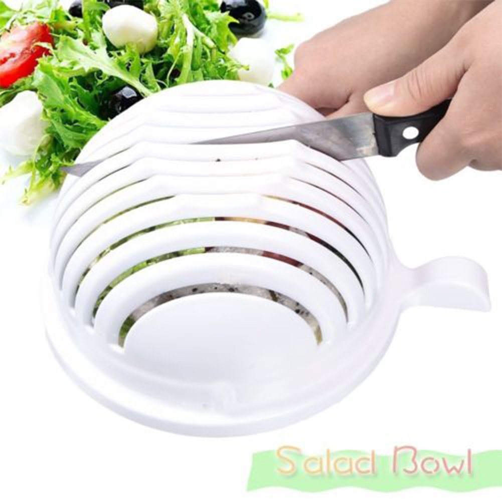GlobalDeal Multi-Color Salad Cutter Bowl, Multi-Function Vegetable Fruit Home Made Salad Value Pack Quick Salad Maker in 60 Seconds Easy Chopper Slicer Strainer Washing Chopper Tool 1PCS (A)