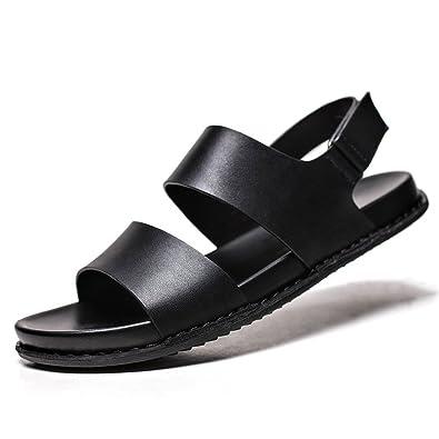 Sandalen Herren Flach Modische Sommer Rund Toe Offenen Peep-Toe Slingback Gemütlich Entspannt Sandaletten Schwarz 41 EU MTgOdbUZ