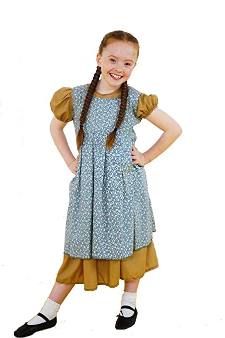 1940s Children's Clothing: Girls, Boys, Baby, Toddler Annie-Orphan-Workhouse VICTORIAN CAMEL DRESS with FLORAL OVER PINNY Childs Costume – All Ages $50.00 AT vintagedancer.com