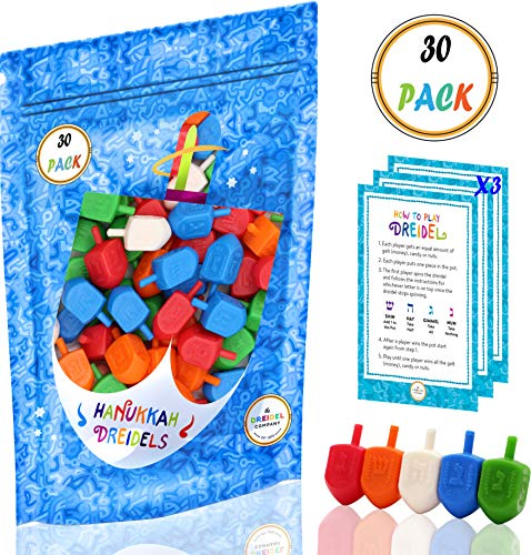 - Hanukkah Dreidels Bulk Pack Multi-Color Plastic Draydels - Includes 3 Dreidel Game Instruction Cards (30-Pack)