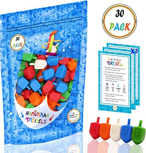Hanukkah Dreidels Bulk Pack Multi-Color Plastic Draydels - Includes 3 Dreidel Game Instruction Cards (30-Pack)