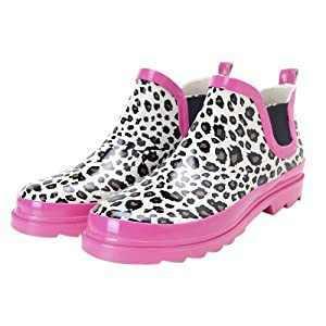 Women's Fashion Printing Ankle High Rain Boots Anti-slip Waterproof Rain Shoes Pink Leopard US 6.5