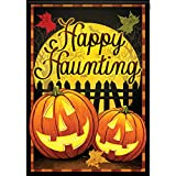 Witching Hour Halloween House Flag Happy Haunting Pumpkin Double Sided 28″ x 40″ For Sale