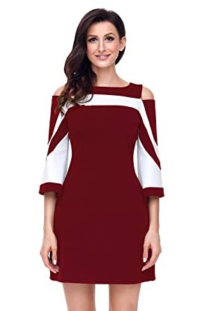 3983a80a6c Elapsy Womens Casual 3 4 Sleeve Cold Shoulder Colorblock Party Shift Club  Dress White Burgundy Small