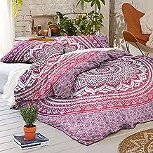 "Exclusive Indian Ombre Mandala Comforter DUVET COVER WITH PILLOWCASES By ""Sophia Art, Indian Duvet Doona Cover Boho Bedding Set Blanket(Single, Pink)"
