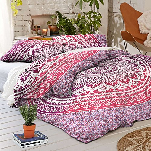 (Sophia Art Exclusive Full Size Ombre Mandala Duvet Cover with Pillowcases, Indian Donna Cover Set Boho Duvet Cover. Bohemian Mandala Bedspread (Pink))