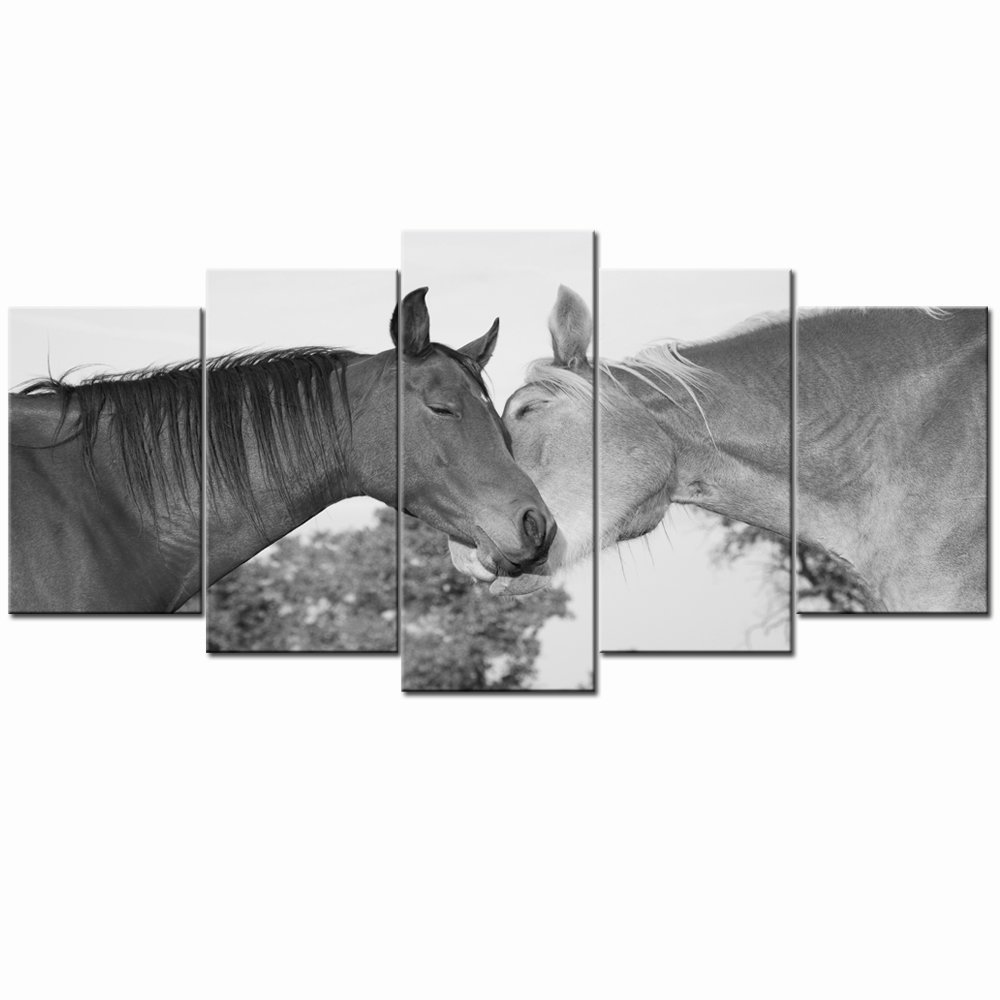 Sea Charm - Black and White Horse Canvas Wall Art Two Horses Hugging Wall Painting for Bedroom Living Room Decor,Animal Canvas Artwork Ready to Hang