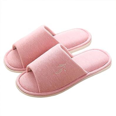 VWU Unisex Damen Herren Frühling Pantoffeln Einfarbig Blatt Baumwolle Weich Hausschuhe Offen Anti Rutsch Innen Indoor Home Zuhause Slippers (43/44, Grau)