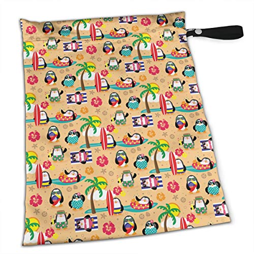 (Penguins in Paradise for Swimsuit and Towels Waterproof Kids Baby Boy Clothes Diaper Hanging Reusable Menstrual Sanitary Cloth Pads Handle Wristlet Portable Wet-Dry Bag)
