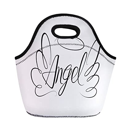 9869ab693465 Amazon.com: Semtomn Lunch Tote Bag Drawing Sketch of Word Angel and ...
