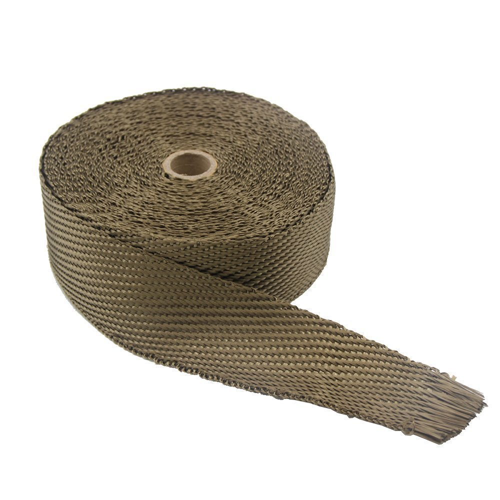LEDAUT 2x 100Titanium Exhaust Heat Wrap For Car /& Motorcycle Exhaust Tape With Stainless Ties