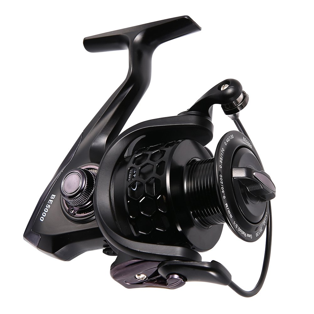 Isafish Spinning Fishing Reels Ultra Smooth 12 1BB 5.1 1 Gear Ratio CNC Machined Aluminum Spool Powerful Bass Gears Reel Saltwater Freshwater