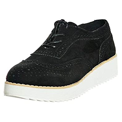 2404d31bea084 shoewhatever Women's Perforated Lace-Up Platform Wedge Sneakers