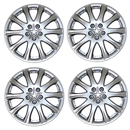 Tuningpros WC3-15-503-S - Pack of 4 Hubcaps - 15-Inches Style 503 Snap-On (Pop-On) Type Metallic Silver Wheel Covers Hub-caps