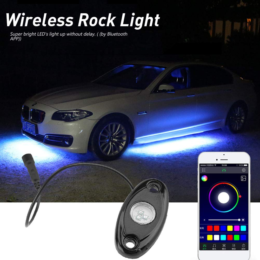 Qiilu 8 Pods Bluetooth Wireless Multi Color Rgb 9w Led In Car Lights Delay Rock Light Kit For Truck Automotive