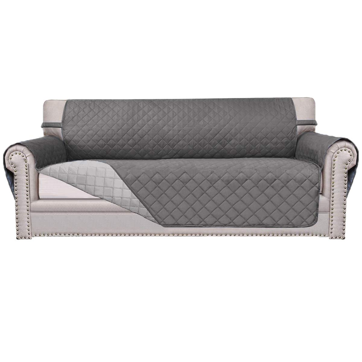 Easy-Going Sofa Covers, Slipcovers, Reversible Quilted Furniture Protector,Water Resistant,Improved Couch Shield with Elastic Straps,Anti-Slip Foams,Micro Fabric Pet Cover Sofa,Gray/Light Gray by Easy-Going