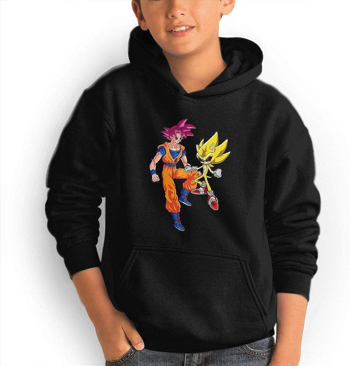Red Coffee Teen Fashion Hoodie Hooded Sweatshirt Pocket Youth Boys Girls Sweaters,Super Saiyan God Goku and Super Sonic