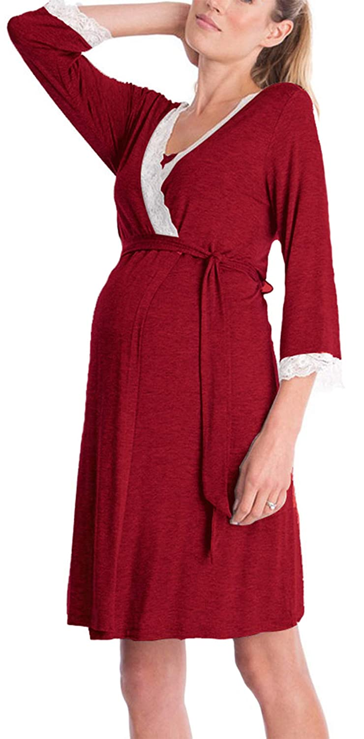 Pregnant Dress, Womens Mother V-Neck Lace Pregnants Casual Nursing Baby Shower Maternity Pajamas Night-Robe Dress Pinleck